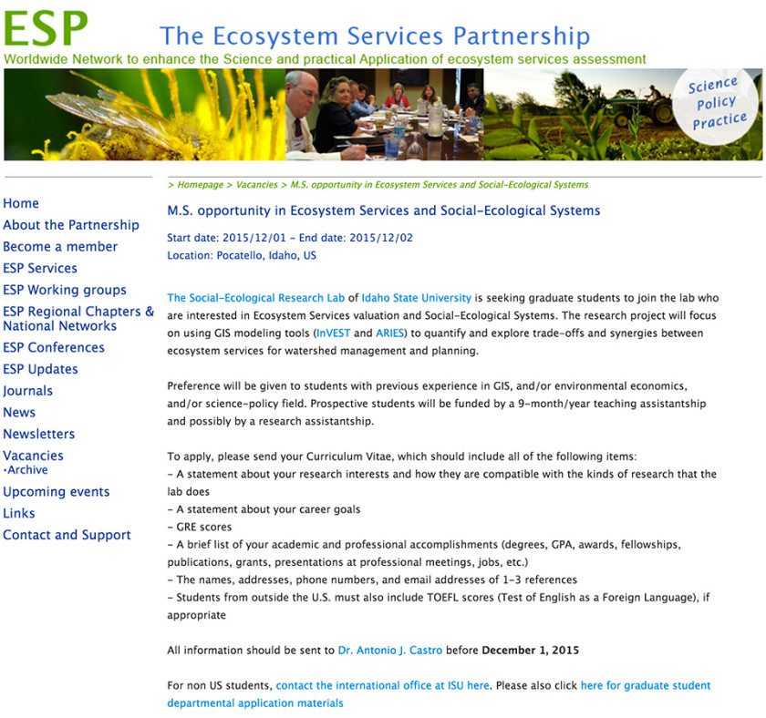 Ecosystem Services Partnership